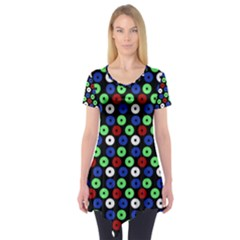 Eye Dots Green Blue Red Short Sleeve Tunic