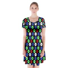 Eye Dots Green Blue Red Short Sleeve V Neck Flare Dress