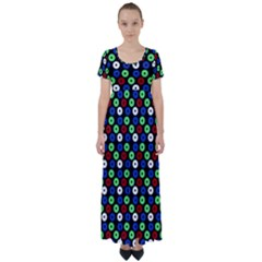 Eye Dots Green Blue Red High Waist Short Sleeve Maxi Dress