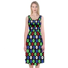 Eye Dots Green Blue Red Midi Sleeveless Dress