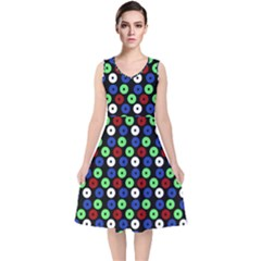 Eye Dots Green Blue Red V Neck Midi Sleeveless Dress