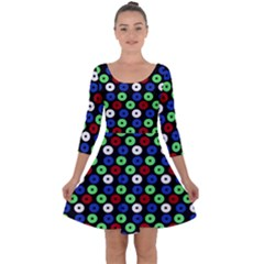 Eye Dots Green Blue Red Quarter Sleeve Skater Dress