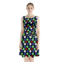 Eye Dots Green Blue Red Sleeveless Waist Tie Chiffon Dress