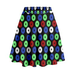 Eye Dots Green Blue Red High Waist Skirt