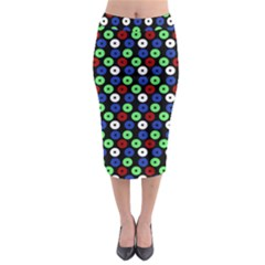 Eye Dots Green Blue Red Midi Pencil Skirt