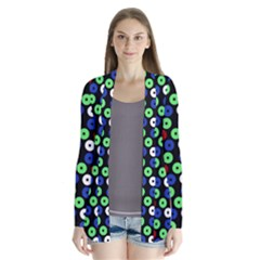 Eye Dots Green Blue Red Drape Collar Cardigan