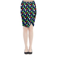 Eye Dots Green Blue Red Midi Wrap Pencil Skirt