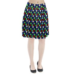 Eye Dots Green Blue Red Pleated Skirt