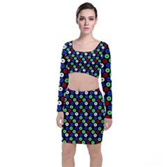 Eye Dots Green Blue Red Long Sleeve Crop Top & Bodycon Skirt Set
