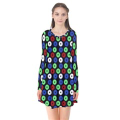 Eye Dots Green Blue Red Flare Dress
