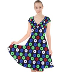 Eye Dots Green Blue Red Cap Sleeve Front Wrap Midi Dress