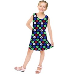 Eye Dots Green Blue Red Kids  Tunic Dress