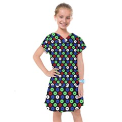 Eye Dots Green Blue Red Kids  Drop Waist Dress