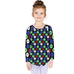 Eye Dots Green Blue Red Kids  Long Sleeve Tee
