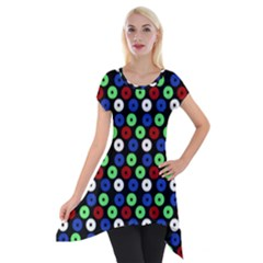 Eye Dots Green Blue Red Short Sleeve Side Drop Tunic