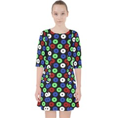Eye Dots Green Blue Red Pocket Dress