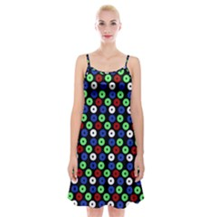 Eye Dots Green Blue Red Spaghetti Strap Velvet Dress