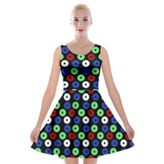Eye Dots Green Blue Red Velvet Skater Dress