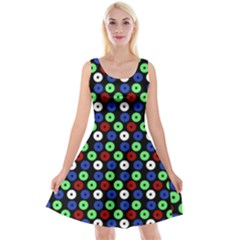Eye Dots Green Blue Red Reversible Velvet Sleeveless Dress