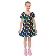 Eye Dots Green Blue Red Kids  Short Sleeve Velvet Dress