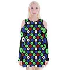Eye Dots Green Blue Red Velvet Long Sleeve Shoulder Cutout Dress
