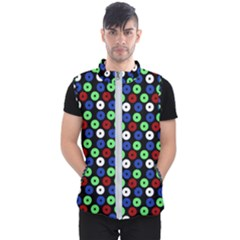 Eye Dots Green Blue Red Men s Puffer Vest