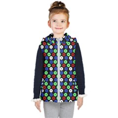 Eye Dots Green Blue Red Kid s Hooded Puffer Vest