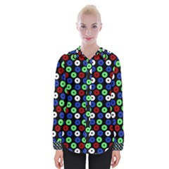 Eye Dots Green Blue Red Womens Long Sleeve Shirt