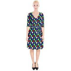 Eye Dots Green Blue Red Wrap Up Cocktail Dress
