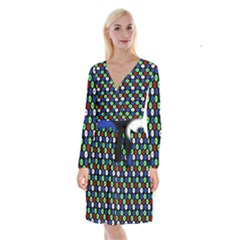 Eye Dots Green Blue Red Long Sleeve Velvet Front Wrap Dress