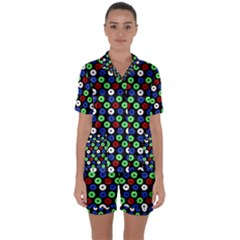 Eye Dots Green Blue Red Satin Short Sleeve Pyjamas Set