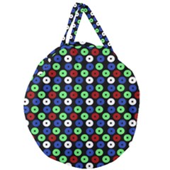 Eye Dots Green Blue Red Giant Round Zipper Tote