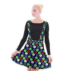 Eye Dots Green Blue Red Suspender Skater Skirt