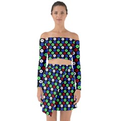 Eye Dots Green Blue Red Off Shoulder Top With Skirt Set