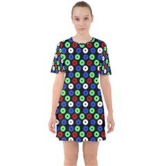 Eye Dots Green Blue Red Sixties Short Sleeve Mini Dress