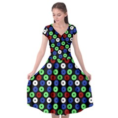 Eye Dots Green Blue Red Cap Sleeve Wrap Front Dress