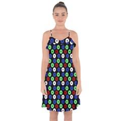 Eye Dots Green Blue Red Ruffle Detail Chiffon Dress