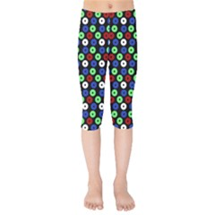 Eye Dots Green Blue Red Kids  Capri Leggings