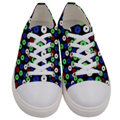 Eye Dots Green Blue Red Women s Low Top Canvas Sneakers
