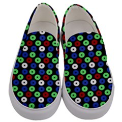 Eye Dots Green Blue Red Men s Canvas Slip Ons