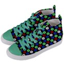 Eye Dots Green Blue Red Women s Mid-Top Canvas Sneakers View2