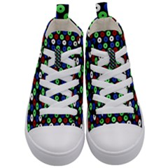 Eye Dots Green Blue Red Kid s Mid Top Canvas Sneakers