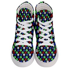 Eye Dots Green Blue Red Men s Hi Top Skate Sneakers