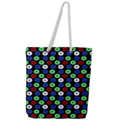 Eye Dots Green Blue Red Full Print Rope Handle Tote (large)