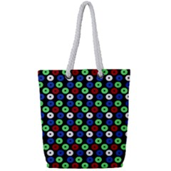 Eye Dots Green Blue Red Full Print Rope Handle Tote (small)