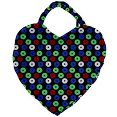 Eye Dots Green Blue Red Giant Heart Shaped Tote
