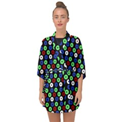 Eye Dots Green Blue Red Half Sleeve Chiffon Kimono