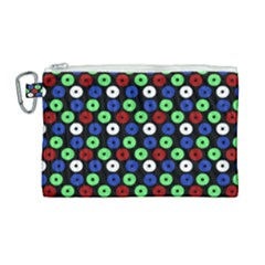 Eye Dots Green Blue Red Canvas Cosmetic Bag (large)