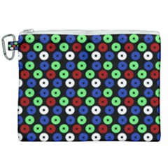 Eye Dots Green Blue Red Canvas Cosmetic Bag (xxl)