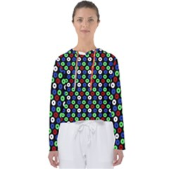 Eye Dots Green Blue Red Women s Slouchy Sweat